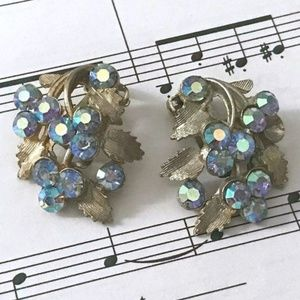 LIGHT BLUE AB CRYSTAL AND SILVER CLIP-ON EARRINGS